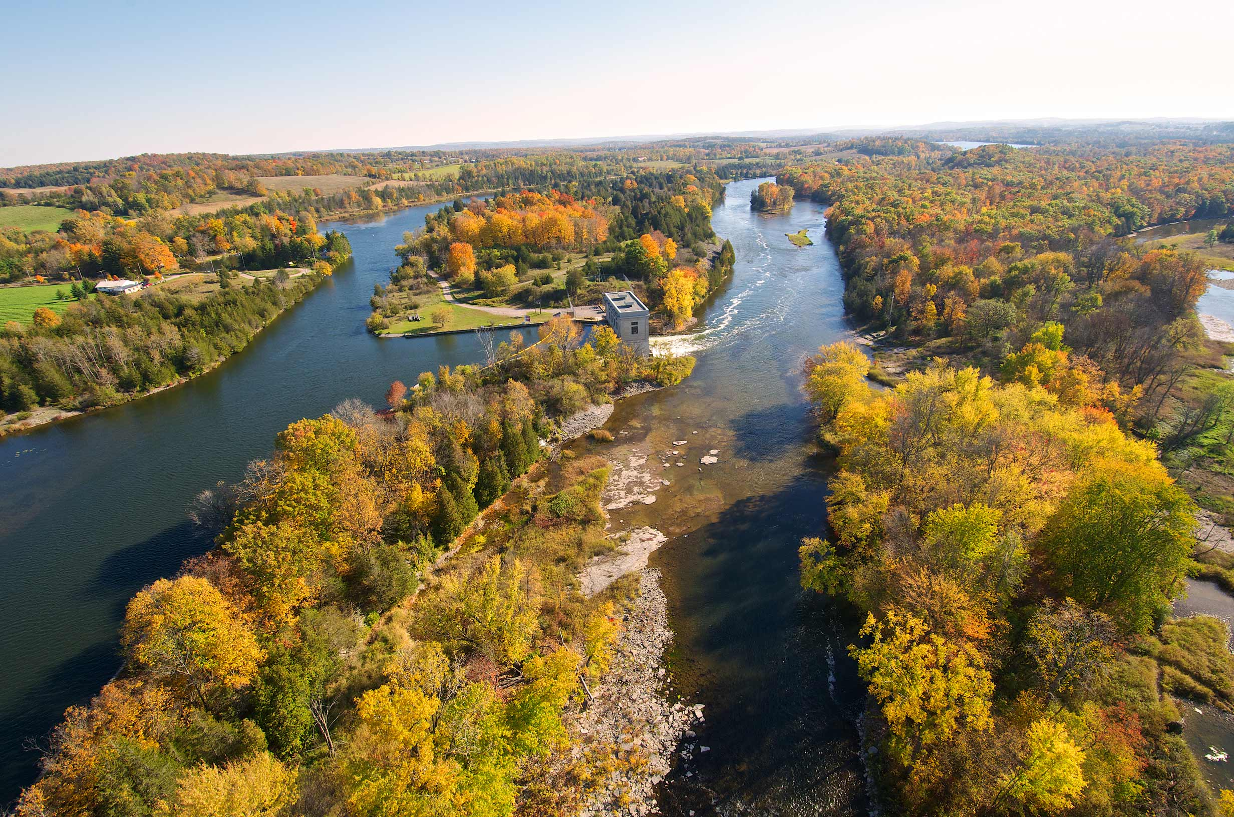 Aerial of Trent River near Campbellford