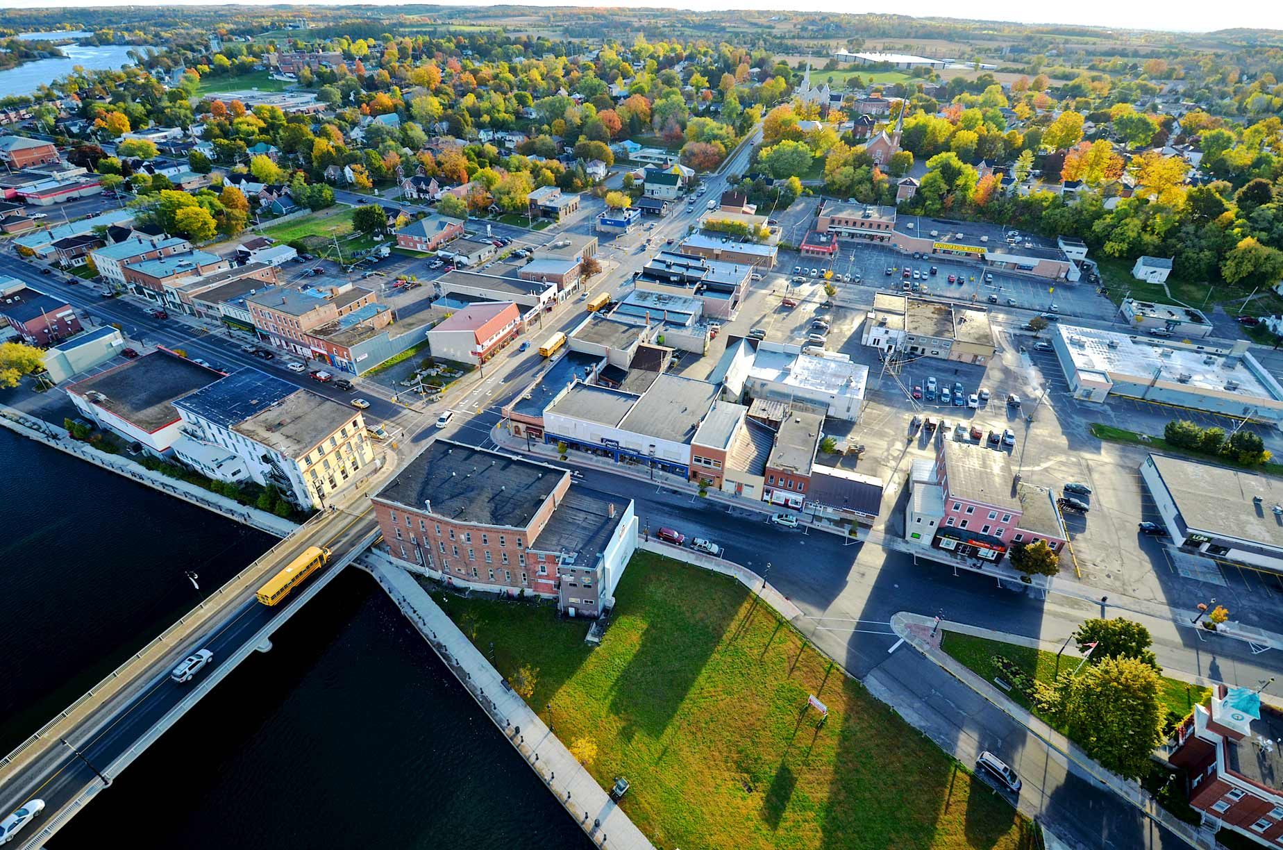 Aerial of roadways in Campbellford's Downtown